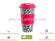 450cc porcelain printing <b>silicone band</b> ceramic travel mug with ...