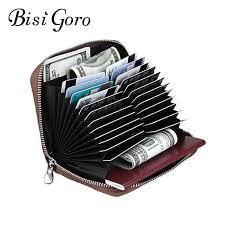 <b>BISI GORO</b> Unisex Genuine Wallet Card Holder Leather <b>Bank</b> Credit ...