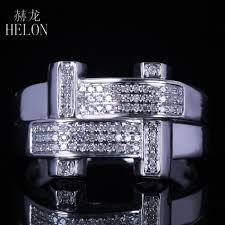 <b>HELON</b> New Mens <b>Solid 10k White</b> Gold 0.3ct Real Diamond Ring ...