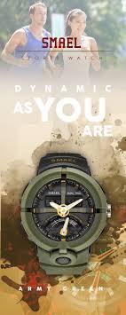 <b>Men's</b> White <b>LED watches</b> - <b>SMAEL</b> army green Shock 50M ...