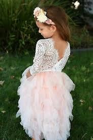 <b>Beautiful</b> Girls Full Length <b>Pink</b> Peach <b>Lace Tulle</b> Layered <b>Tutu</b> ...