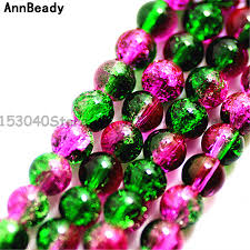 <b>New Arrival 50Pcs</b> Green Rose Crack Color 6mm Round Spacer ...
