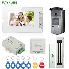 RAYKUBE <b>Wired</b> Video Door Phone Intercom Entry System <b>7 Inch</b> ...