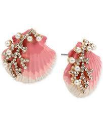 Gold-Tone Imitation Pearl & Crystal <b>Shell Stud Earrings</b>