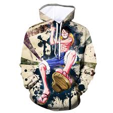 <b>Anime One Piece</b> Hoodies <b>3D</b> Print Pullover Sweatshirt Monkey D ...