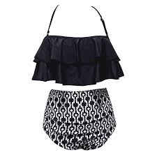 Buy XuBa 2 Pcs/set Women Sexy <b>Ruffle High Waist Swimsuit Bikini</b> ...