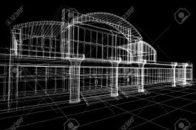 abstract 3d sketch of office building on black stock photo 9562739 abstract 3d office building