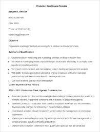 Sample Production Clerk Resume Template