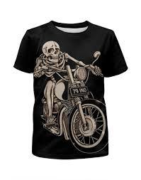 Футболка с полной запечаткой для мальчиков <b>Skeleton Biker</b> ...