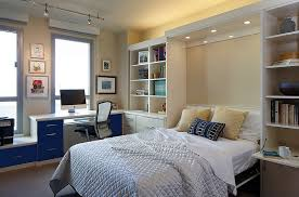 lovely lighting adds to the ambiance of the home office and guestroom bedroom guest office combination