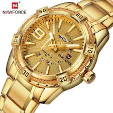 NAVIFORCE Luxury Brand <b>Mens</b> Sport <b>Watch</b> Gold <b>Full Steel</b> Quartz ...