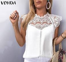 2019 VONDA 2019 Sexy <b>Women</b> Blouse <b>Summer</b> Sleeveless Lace ...
