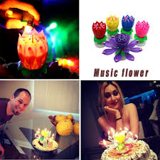 <b>Double Lotus Music</b> Candle <b>Double</b> Flower Blossom <b>Birthday</b> Cake ...