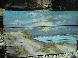 wall decor art cottage beach diy painting idea take some old boards and paint a beach scene on them