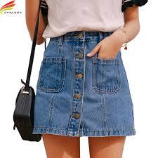 <b>Denim Skirt High</b> Waist A line Mini Skirts <b>Women</b> 2019 Summer New ...