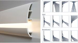 manufactured to easily accept led lighting calabasas molding yields even and balanced light dispersion baseboard lighting