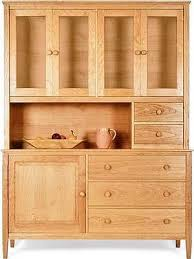 vermont made shaker buffet hutch shown in natural cherry wood with glass hutch doors cherry wood furniture