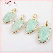 <b>BOROSA 5</b>/<b>10PCS</b> Shield Shape Natural Amazon Stone Gold ...