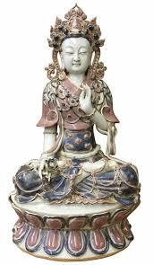 <b>Vintage Chinese</b> Tong <b>Style Blue</b> Red White Porcelain Kwan Yin ...