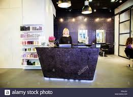 salon receptionist stock photos salon receptionist stock images female receptionist in hair salon stock image