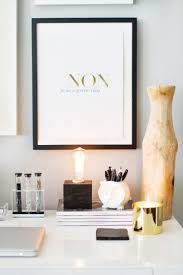 how to style a west elm parsons desk white lacquer neutral gold white black grey walls home office space photography black white home office cococozy 5