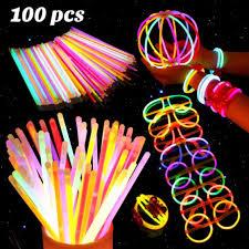 <b>100pcs</b> Glow Sticks Bracelets Necklaces Fluorescent Neon Party ...