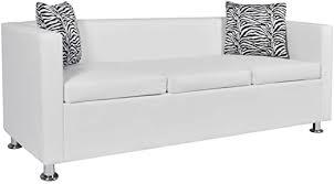 INLIFE Sofa 3-Seater Artificial Leather White: Kitchen ... - Amazon.com