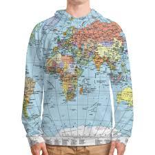 <b>Толстовка с полной</b> запечаткой Карта мира #2022919 от ...