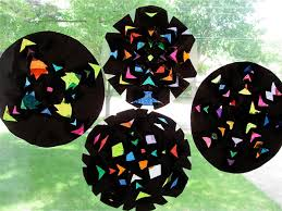 stained glass window art black contact paper project