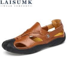 <b>LAISUMK Genuine Leather Men</b> Sandals Summer Cow Leather ...