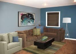 design blue walls brown furniture