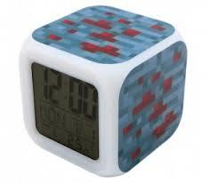 <b>Часы Pixel Crew будильник</b> Блок красной руды пиксельные с ...