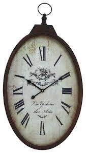 Old Fashioned <b>Oval Pocket Watch</b> Wall Clock <b>Bronze</b> Beige Decor ...