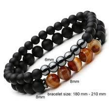 (<b>LOVERS</b> BLACK STONE) <b>6mm 8mm</b> Obsidian Beads Bracelet ...