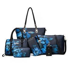 Buy <b>6Pcs Women's</b> Shoulder <b>Bag Set</b> Floral Pattern Elegant <b>Bag</b> ...