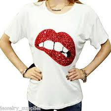 Sexy Large Red <b>Lip Sequin</b> Embroidered Patches Sew on DIY ...