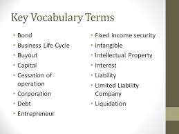 key vocabulary terms bond business life cycle buyout capital cessation of operation corporation debt entrepreneur fixed business life concepts