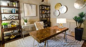 sophisticated mid century modern office touches of metallic glam midcentury home office century office