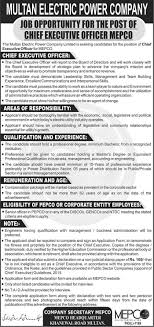 ceo jobs in multan electric power company