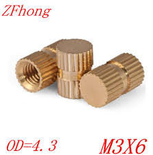 100pcs OD=4.3 M3*6 blind <b>end</b> Brass Insert <b>Knurled Nut</b> ,M3 blind ...