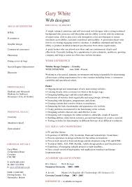 web designer cv   hashdocgary white web designer areas of expertise html e commerce graphic design personal summary a bright  talented  ambitious and self motivated web designer