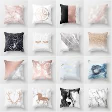 <b>Nordic</b> Minimalist Style <b>Pink Marble</b> 18 Inch Cushion Cover Pillowcase