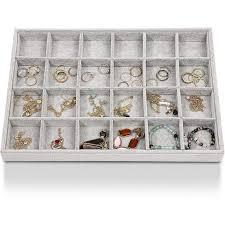 Juvale Velvet <b>24 Grids</b> Jewelry Tray, Stackable Jewelry <b>Storage</b> ...