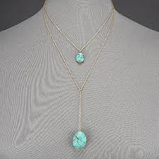 Gold Thin <b>Chain Double</b> Layered Turquoise Stone Pendant ...