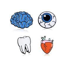 <b>4pcs set Personality</b> Creative Enamel Organ Eyes Brain Tooth <b>Heart</b> ...