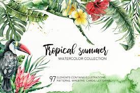 <b>Tropical</b> summer. <b>Watercolor</b> clip art on Behance