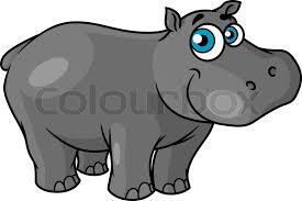 <b>Cute cartoon</b> baby <b>hippo</b> with blue eyes ... | Stock vector | Colourbox