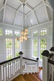 light wood stairs staircase traditional amazing ideas with white beadboard vaulted ceiling amazing light wood