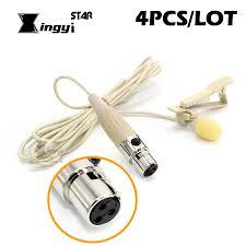 4Pcs Mini XLR 3 Pin TA3F Tie <b>Clip on Mic Lavalier Lapel</b> ...