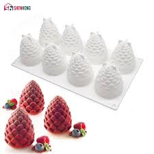 ttlife 3 holes pine cones silicone mold nuts fondant cake sugarcraft decorating tools chocolate cookie stencil baking mould